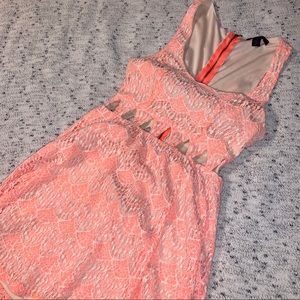 Neon Coral Lacey Sundress